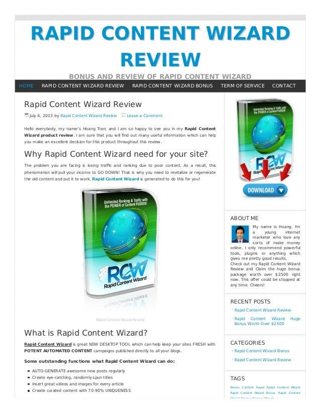 RAPID CONTENT WIZARDRAPID CONTENT WIZARD REVIEWREVIEW BONUS AND REVIEW OF RAPID CONTENT WIZARD Rapid Content Wizard Review...
