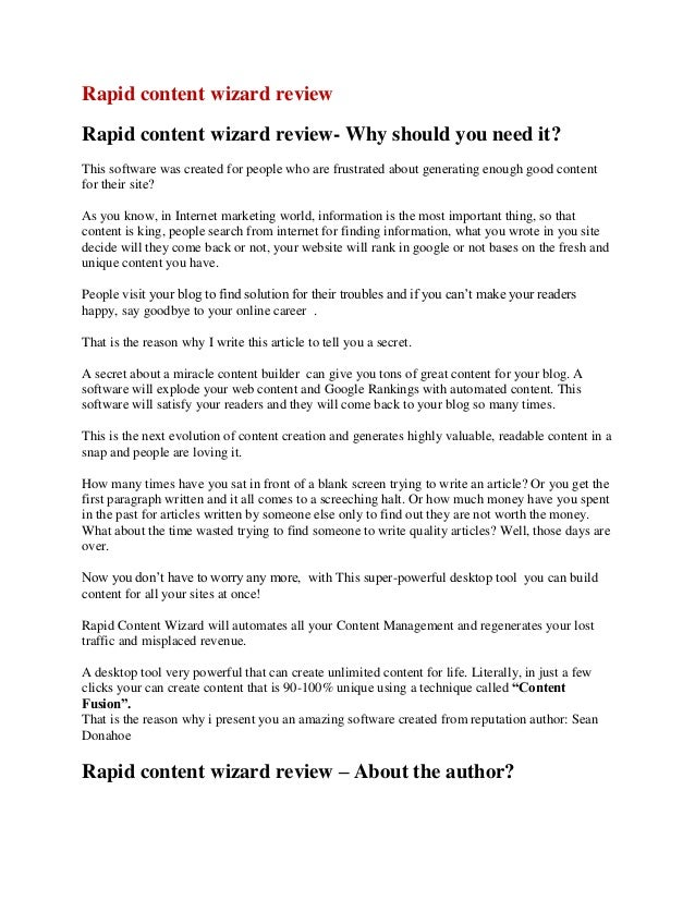 Rapid content wizard review Rapid content wizard review- Why should you need it? This software was created for people who ...
