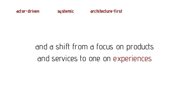 actor-driven systemic architecture-first focus on experience an experience is anything an actor considers connected to ach...