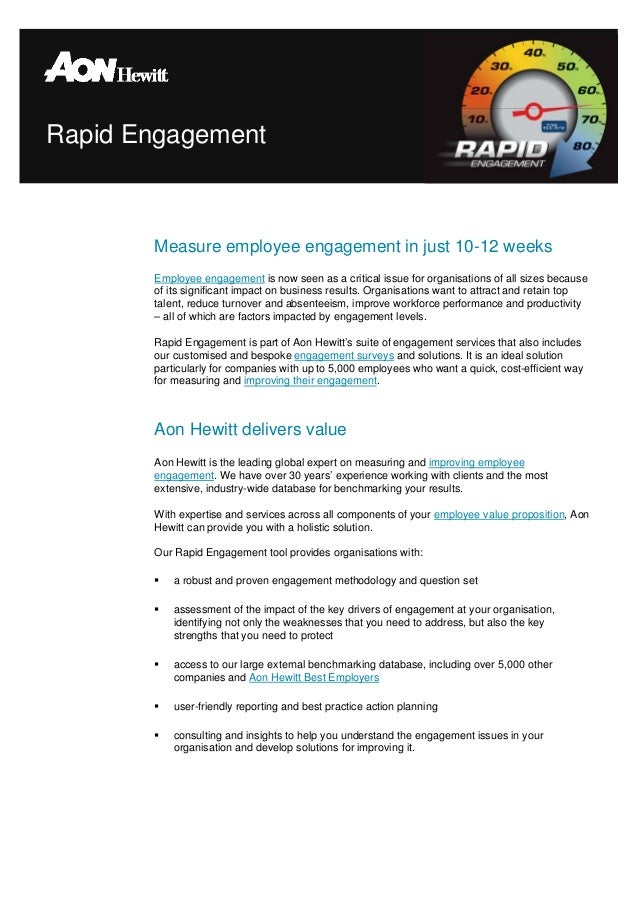 Rapid Engagement       Measure employee engagement in just 10-12 weeks       Employee engagement is now seen as a critical...
