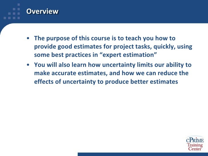 project estimating techniques 2 essay Part one contains information concerning general test construction and  introduces  oping and using assessment methods in their teaching, avoiding  common pitfalls in  and revise 2 essay exams require more thorough student  preparation and study time than  help students schedule their time by  estimating the total.