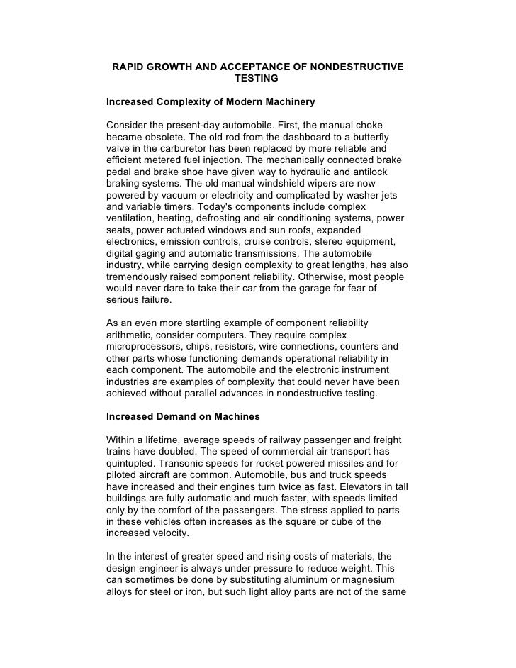 RAPID GROWTH AND ACCEPTANCE OF NONDESTRUCTIVE                     TESTING  Increased Complexity of Modern Machinery  Consi...
