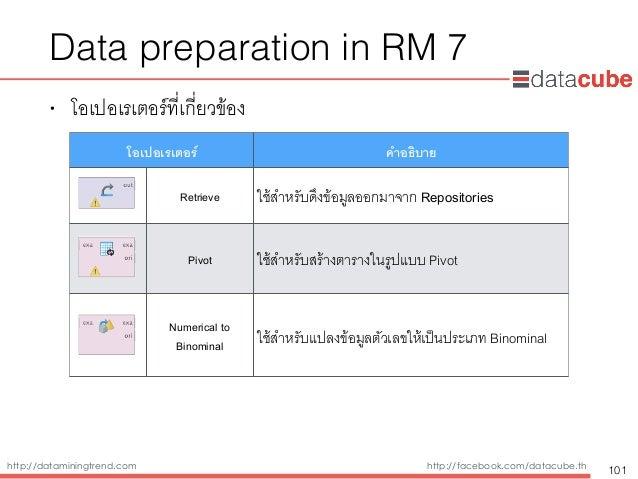 http://dataminingtrend.com http://facebook.com/datacube.th Data preparation in RM 7 • โอเปอเรเตอร์ที่เกี่ยวข้อง 101 โอเปอเ...