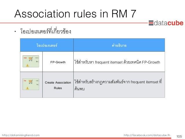 http://dataminingtrend.com http://facebook.com/datacube.th Association rules in RM 7 • โอเปอเรเตอร์ที่เกี่ยวข้อง 105 โอเปอ...