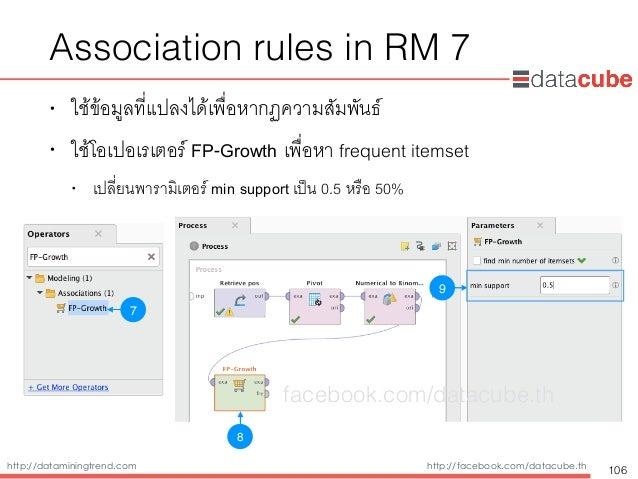 http://dataminingtrend.com http://facebook.com/datacube.th Association rules in RM 7 • ใช้ข้อมูลที่แปลงได้เพื่อหากฏความสัม...