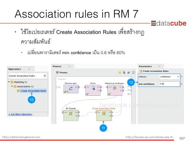 http://dataminingtrend.com http://facebook.com/datacube.th Association rules in RM 7 • ใช้โอเปอเรเตอร์ Create Association ...