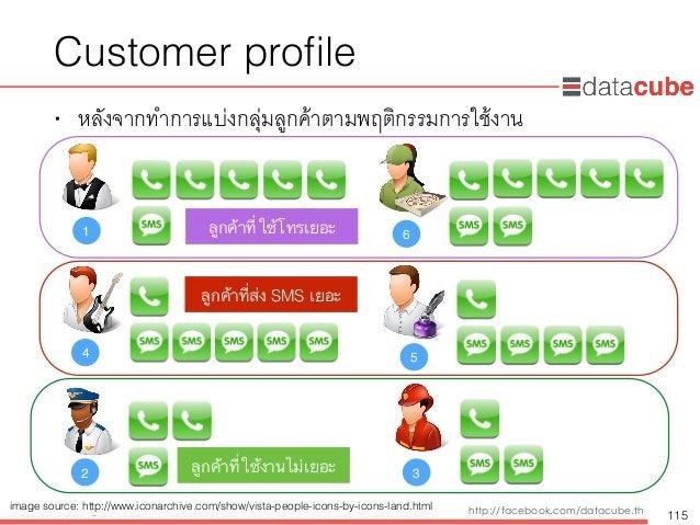 http://dataminingtrend.com http://facebook.com/datacube.th Customer profile • หลังจากทำการแบ่งกลุ่มลูกค้าตามพฤติกรรมการใช้ง...