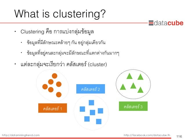 http://dataminingtrend.com http://facebook.com/datacube.th • Clustering คือ การแบ่งกลุ่มข้อมูล • ข้อมูลที่มีลักษณะคล้ายๆ ก...