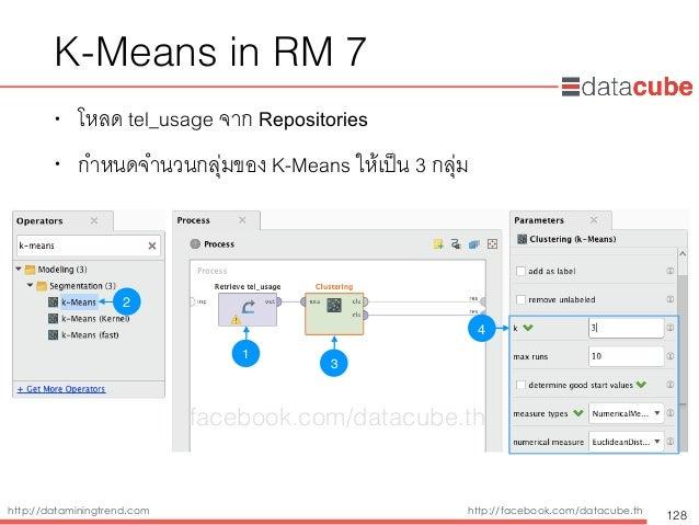 http://dataminingtrend.com http://facebook.com/datacube.th K-Means in RM 7 • โหลด tel_usage จาก Repositories • กำหนดจำนวนก...