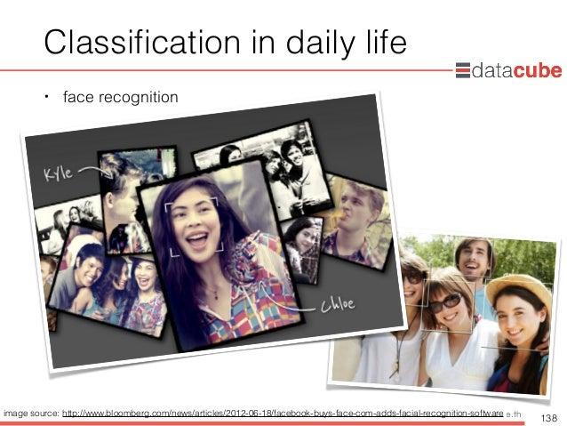 http://dataminingtrend.com http://facebook.com/datacube.th Classification in daily life • face recognition 138 image source...