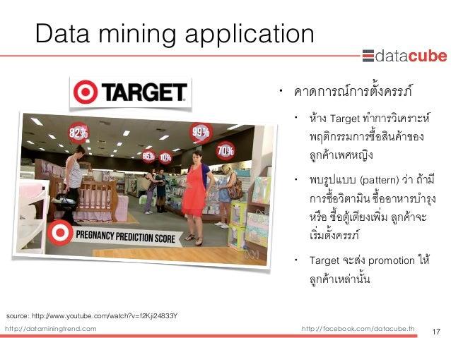 http://dataminingtrend.com http://facebook.com/datacube.th Data mining application • คาดการณ์การตั้งครรภ์ • ห้าง Target ทำ...