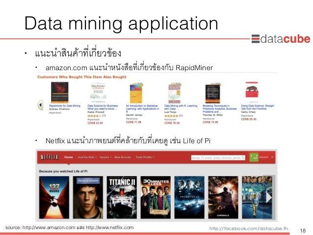 http://dataminingtrend.com http://facebook.com/datacube.th Data mining application • แนะนำสินค้าที่เกี่ยวข้อง • amazon.com...