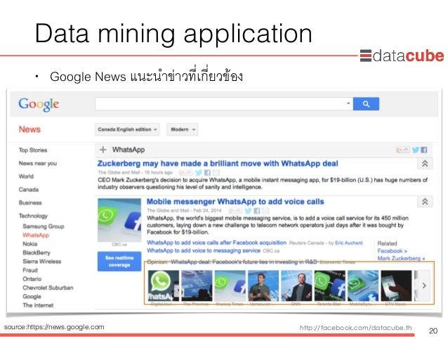 http://dataminingtrend.com http://facebook.com/datacube.th Data mining application • Google News แนะนำข่าวที่เกี่ยวข้อง 20...