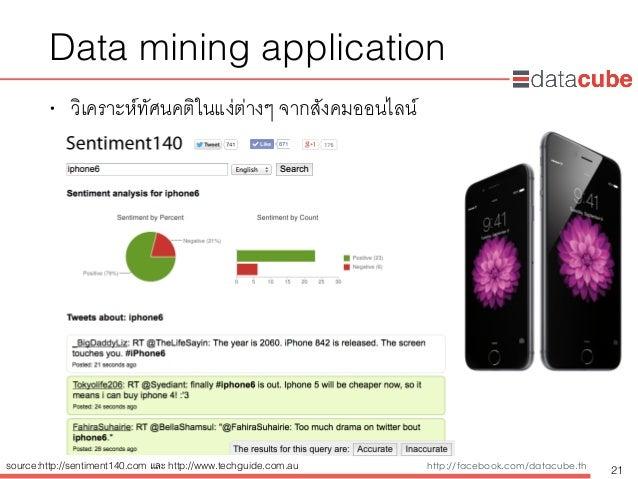 http://dataminingtrend.com http://facebook.com/datacube.th Data mining application • วิเคราะห์ทัศนคติในแง่ต่างๆ จากสังคมออ...