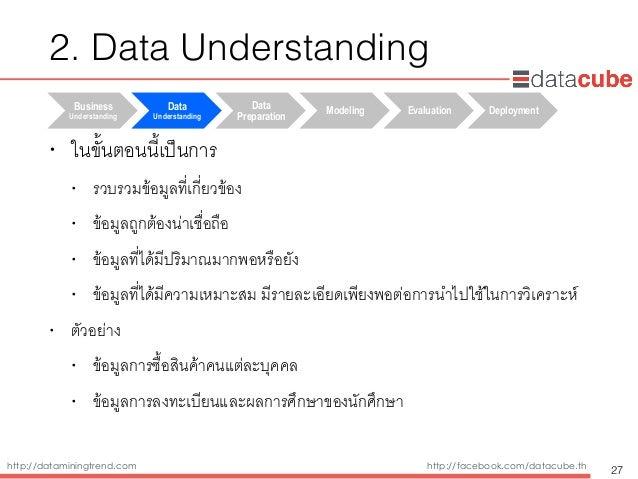 http://dataminingtrend.com http://facebook.com/datacube.th • ในขั้นตอนนี้เป็นการ • รวบรวมข้อมูลที่เกี่ยวข้อง • ข้อมูลถูกต้...