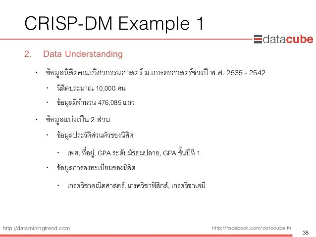 http://dataminingtrend.com http://facebook.com/datacube.th CRISP-DM Example 1 2. Data Understanding • ข้อมูลนิสิตคณะวิศวกร...