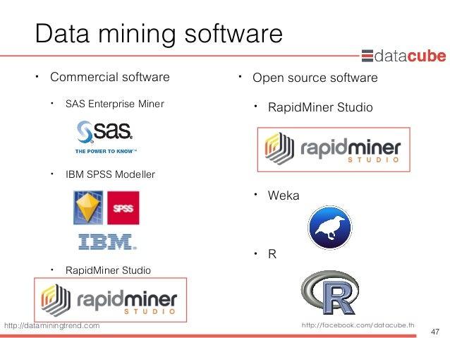 http://dataminingtrend.com http://facebook.com/datacube.th Data mining software • Commercial software • SAS Enterprise Min...