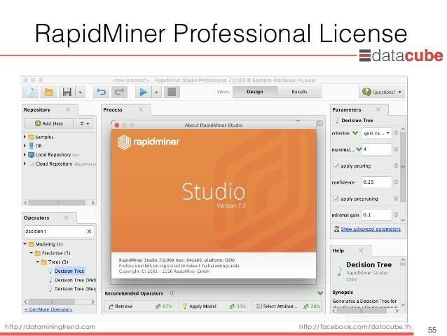 http://dataminingtrend.com http://facebook.com/datacube.th RapidMiner Professional License 55