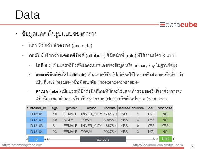 http://dataminingtrend.com http://facebook.com/datacube.th Data • ข้อมูลแสดงในรูปแบบของตาราง • แถว เรียกว่า ตัวอย่าง (exam...
