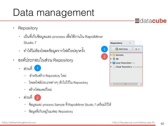 http://dataminingtrend.com http://facebook.com/datacube.th Data management • Repository • เป็นที่เก็บข้อมูลและ process เพื...