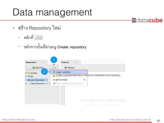 http://dataminingtrend.com http://facebook.com/datacube.th Data management • สร้าง Repository ใหม่ • คลิกที่ • หลังจากนั้น...