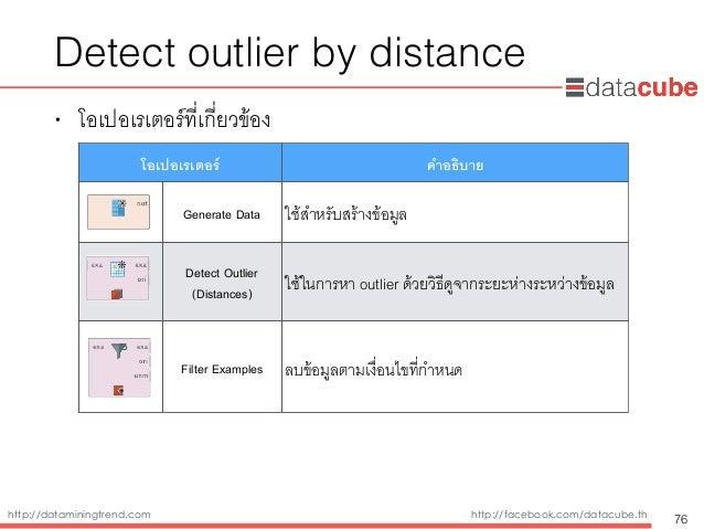 http://dataminingtrend.com http://facebook.com/datacube.th Detect outlier by distance • โอเปอเรเตอร์ที่เกี่ยวข้อง 76 โอเปอ...