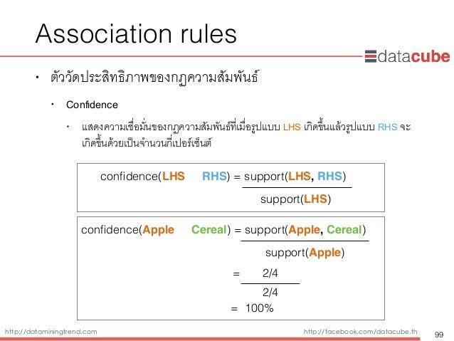 http://dataminingtrend.com http://facebook.com/datacube.th Association rules • ตัววัดประสิทธิภาพของกฏความสัมพันธ์ • Confide...
