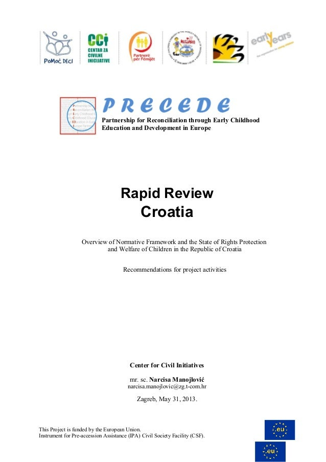 Partnership for Reconciliation through Early Childhood Education and Development in Europe  Rapid Review  Croatia Overview...