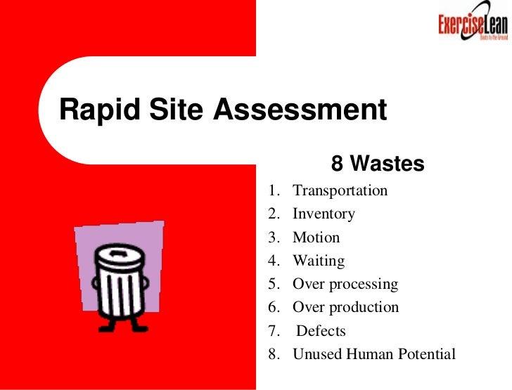 Rapid Site Assessment            <br />8 Wastes<br />Transportation <br />Inventory <br />Motion <br />Waiting <br />Over ...