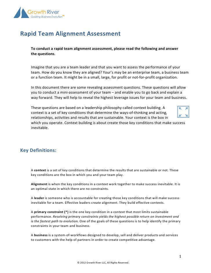 Rapid	  Team	  Alignment	  Assessment	                                      	     ...