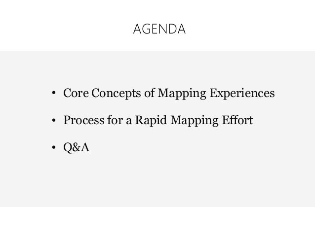• Core Concepts of Mapping Experiences • Process for a Rapid Mapping Effort • Q&A AGENDA