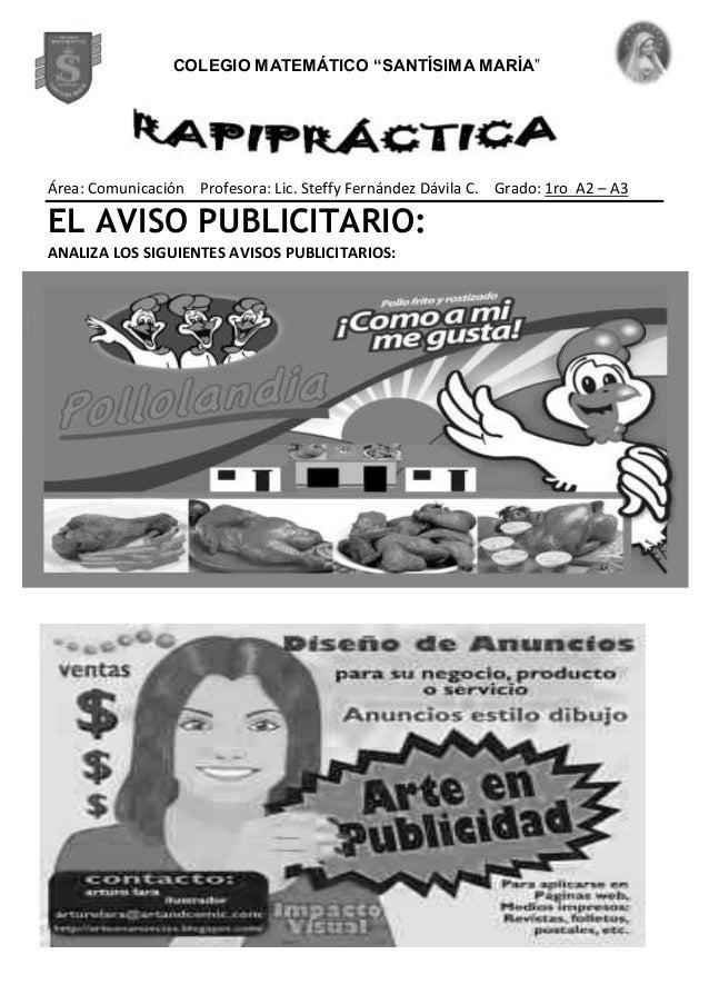 Área: Comunicación Profesora: Lic. Steffy Fernández Dávila C. Grado: 1ro A2 – A3 EL AVISO PUBLICITARIO: ANALIZA LOS SIGUIE...