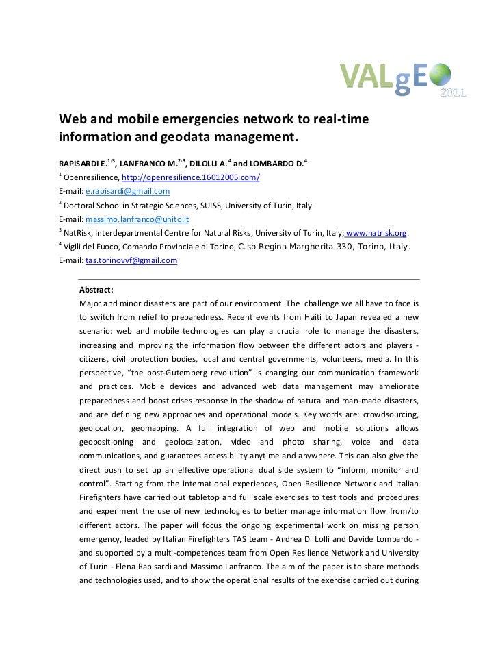 Webandmobileemergenciesnetworktoreal‐timeinformationandgeodatamanagement.RAPISARDIE.1‐3,LANFRANCOM.2‐3,DIL...