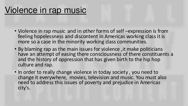 rap music and violence Title: rap music and its violent progeny: america's culture of violence in context created date: 20160809091655z.