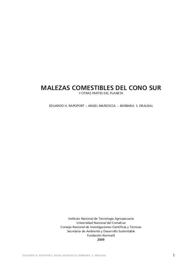 MALEZAS COMESTIBLES DEL CONO SUR                                     Y OTRAS PARTES DEL PLANETA                 EDUARDO H....