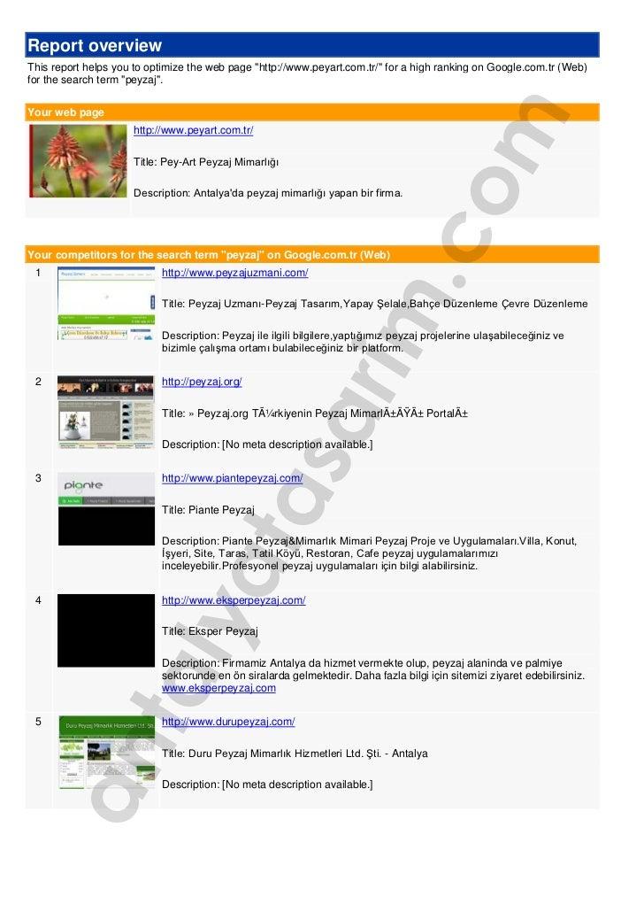 """Report overviewThis report helps you to optimize the web page """"http://www.peyart.com.tr/"""" for a high ranking on Google.com..."""
