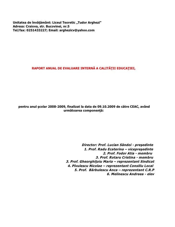 Raport 2008 2009