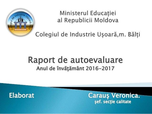 Raport de autoevaluare Anul de învățământ 2016-2017