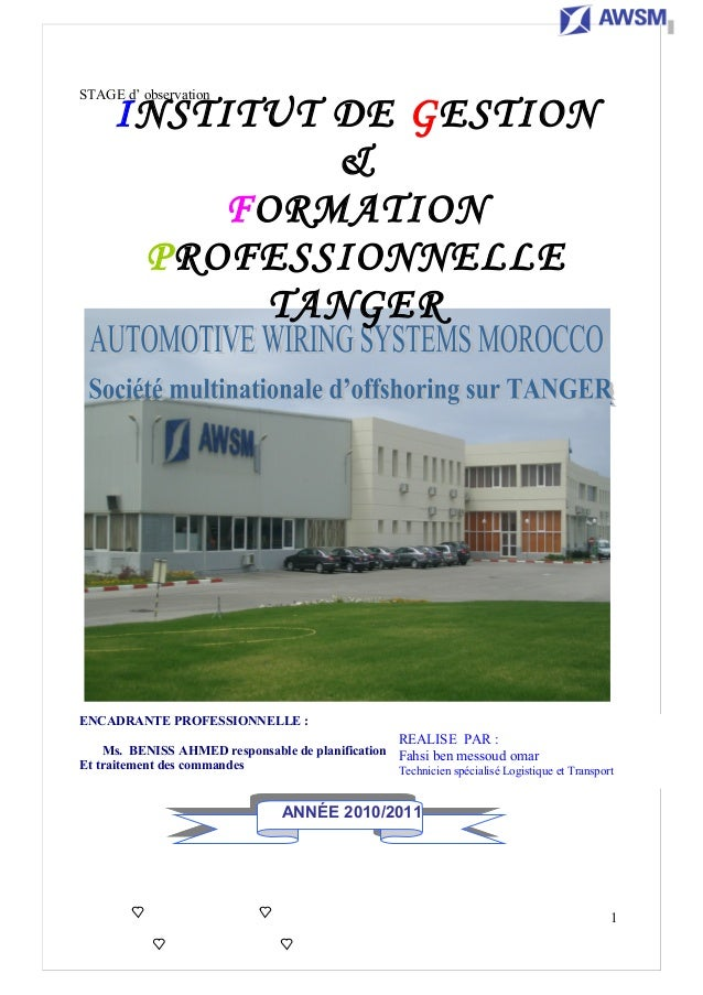 STAGE d'obesirvation STAGE d' observation ENCADRANTE PROFESSIONNELLE : Ms. BENISS AHMED responsable de planification Et tr...
