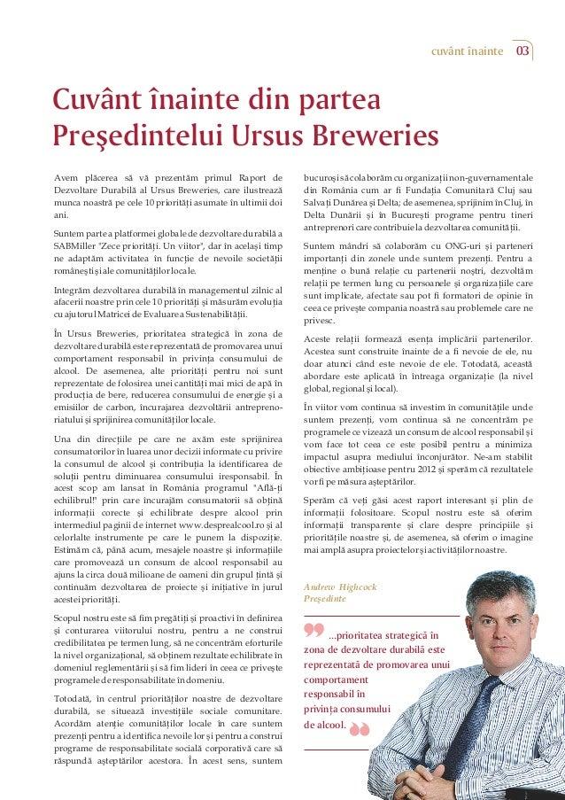 Raport de Dezvoltare Durabila Ursus Breweries Slide 3