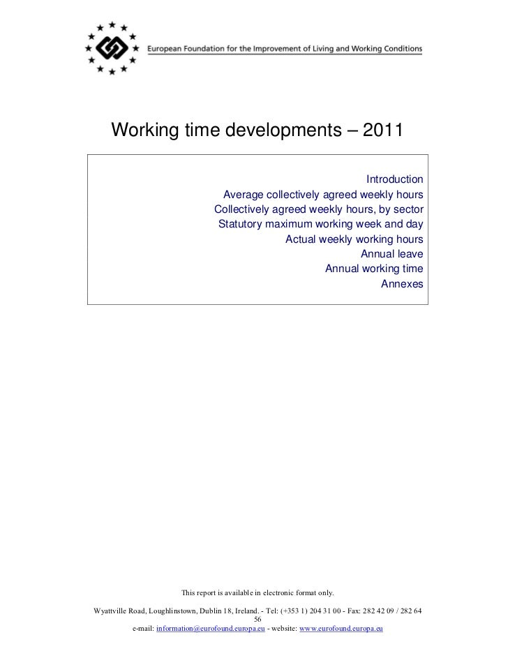 Working time developments – 2011                                                                    Introduction          ...