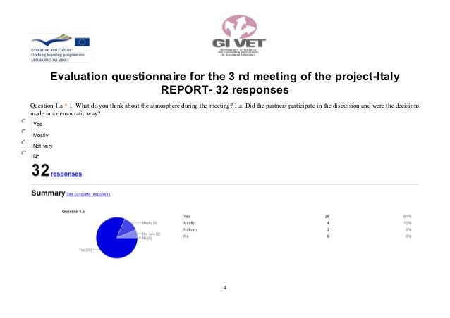 1Evaluation questionnaire for the 3 rd meeting of the project-ItalyREPORT- 32 responsesQuestion 1.a * 1. What do you think...