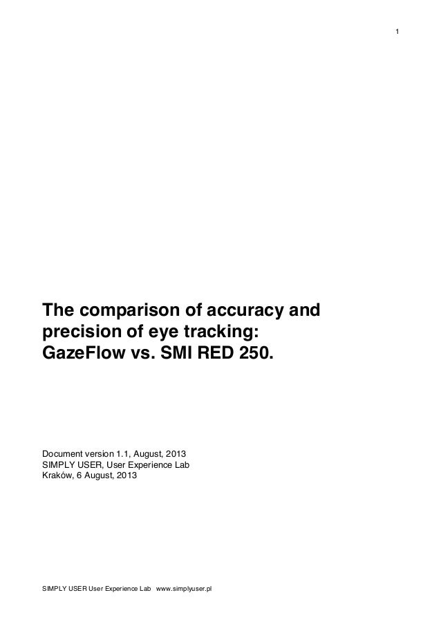 1 SIMPLY USER User Experience Lab www.simplyuser.pl The comparison of accuracy and precision of eye tracking: GazeFlow vs....
