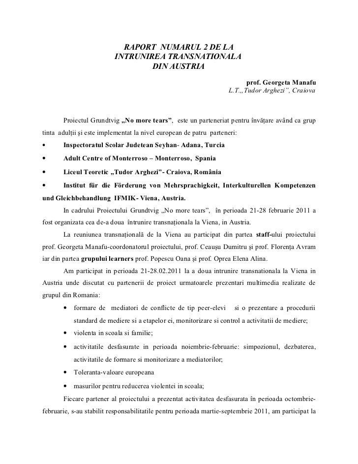 RAPORT NUMARUL 2 DE LA                          INTRUNIREA TRANSNATIONALA                                  DIN AUSTRIA    ...