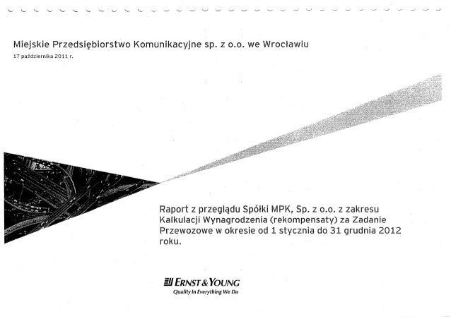 Raport z przeglądu spółki mpk za rok 2012