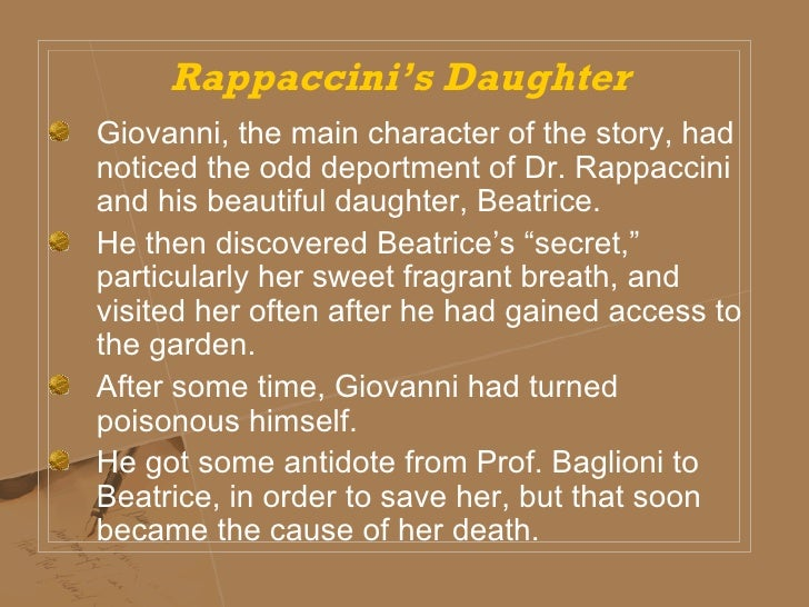 nathaniel hawthornes rappaccinis daughter Nathaniel hawthorne's 'rappaccini's daughter' in 5 pages this paper discusses hawthorne's short story in a consideration of the character beatrice who is.