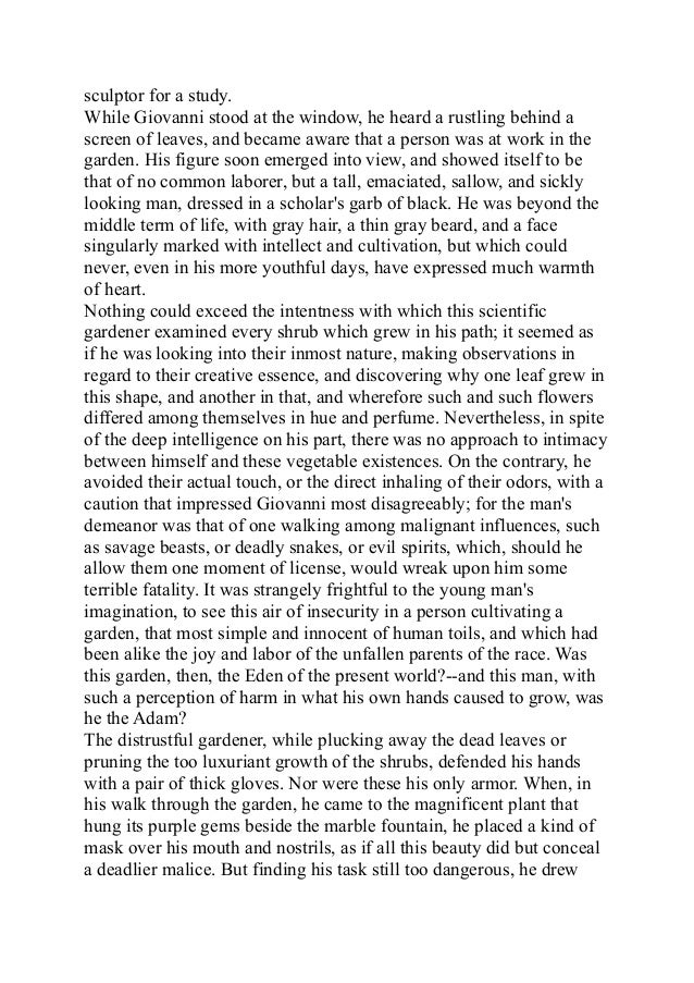 rappaccinis daughter The ethics ofrappaccini by jacob roshanmanesh rappaccini's daughter is a short story of moral conflict rappaccini's actions are neither cold-blooded nor self-centered his actions are typical of a very protective and loving father rappaccini's decisions provide insight into an ethical belief his beliefs are very utilitarian.