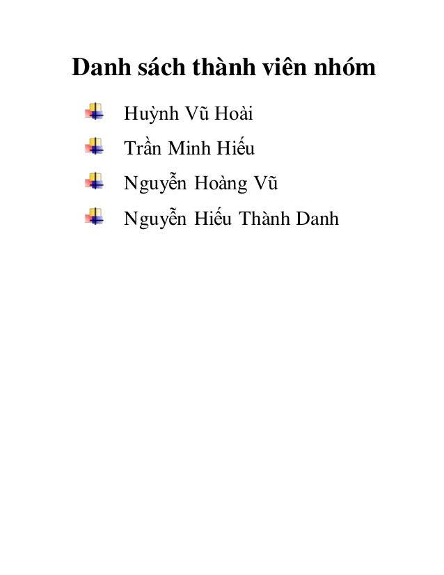 Danh sách thành viên nhóm Huỳnh Vũ Hoài Trần Minh Hiếu Nguyễn Hoàng Vũ Nguyễn Hiếu Thành Danh