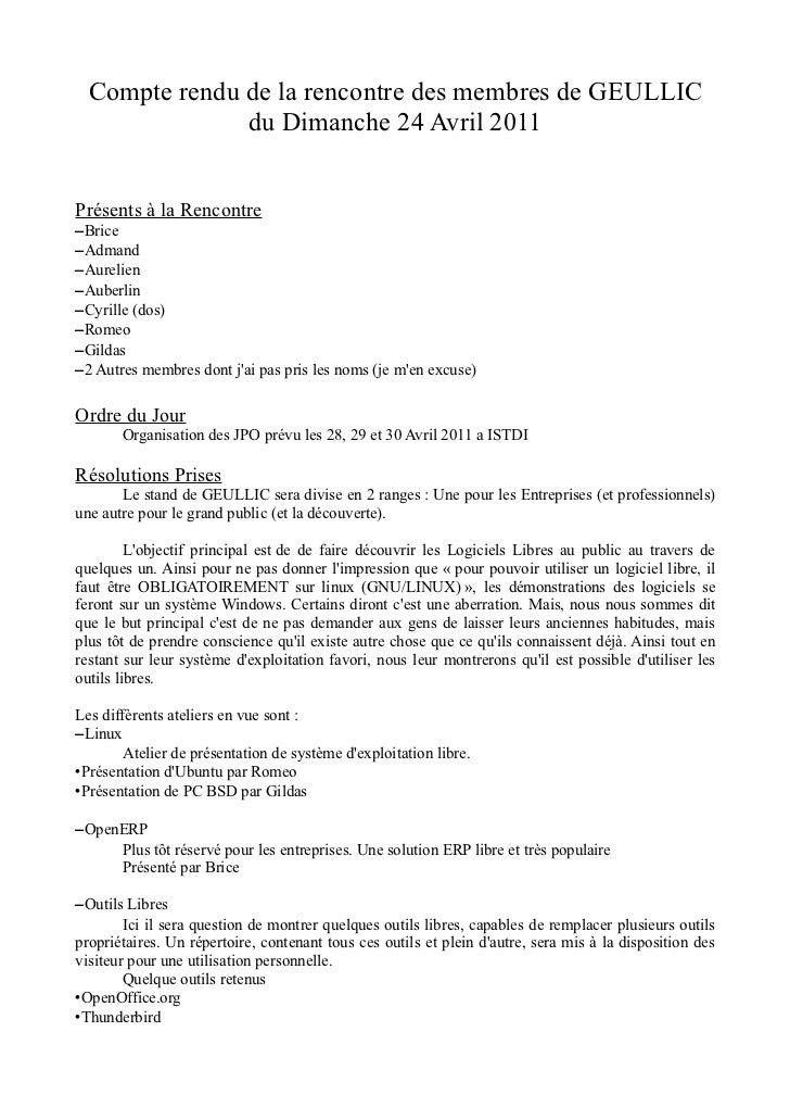 Compte rendu de la rencontre des membres de GEULLIC               du Dimanche 24 Avril 2011Présents à la Rencontre–Brice–A...