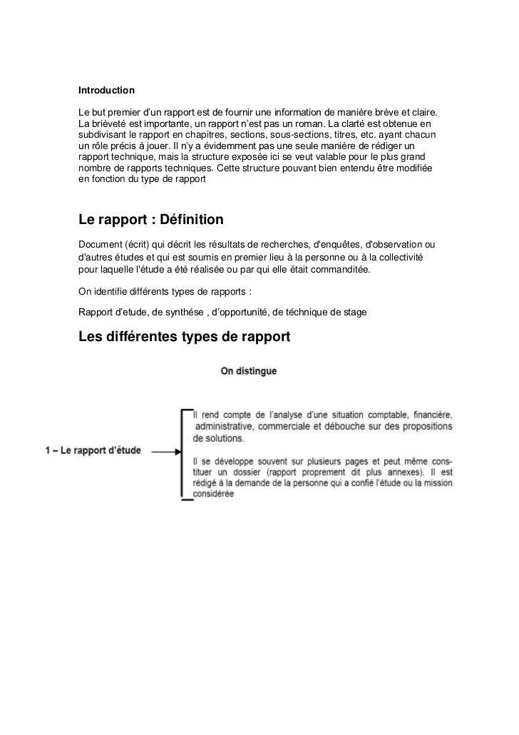 IntroductionLe but premier d'un rapport est de fournir une information de manière brève et claire.La brièveté est importan...